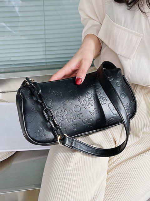 Niedliche Muster Geprägte Hälfte Kette Umhängetasche - Schwarz  Mobile