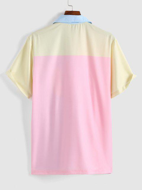 Farbblock Reißverschluss an der Vorderseite Kurzarm Hemd - Helles Rosa L Mobile
