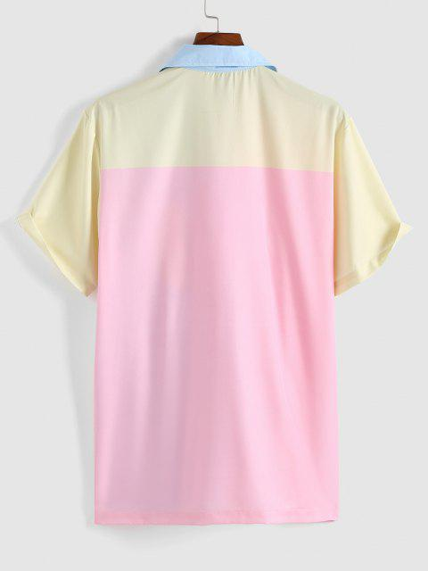 fancy Colorblock Pastel Short Sleeve Shirt - LIGHT PINK XL Mobile