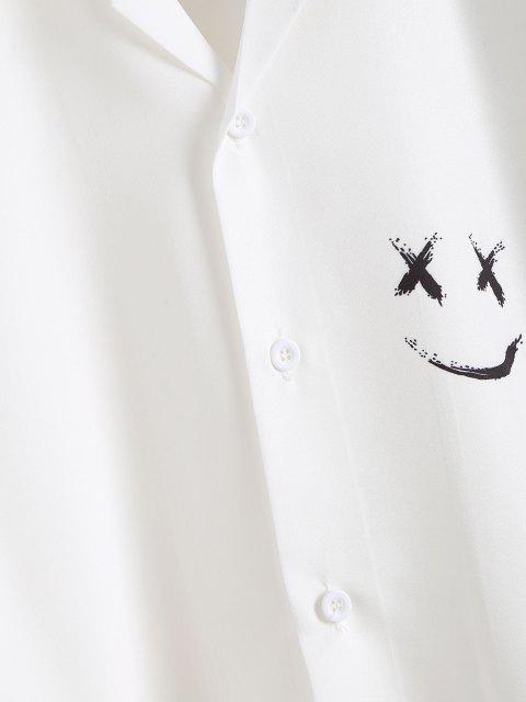Kurzarm Frohe Gesicht Druck Hemd - Weiß L Mobile