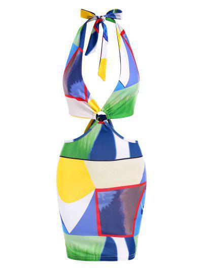 Halter Colorblock Ring Cutout Slinky Bodycon Dress - Multi M