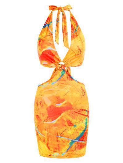 Halter Ring Cutout Abstract Print Slinky Bodycon Dress - Multi S