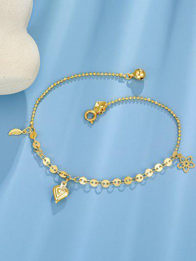Golden Heart Bell Leaf Flower Charm Anklet - Golden