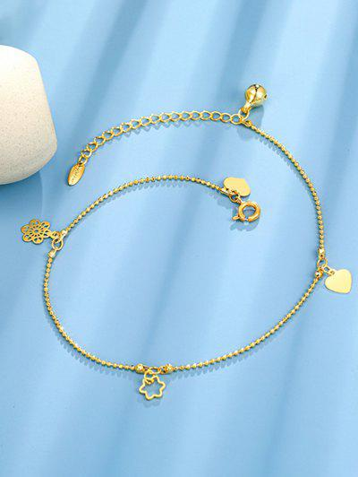 Golden Heart Flower Bell Charm Anklet - Golden
