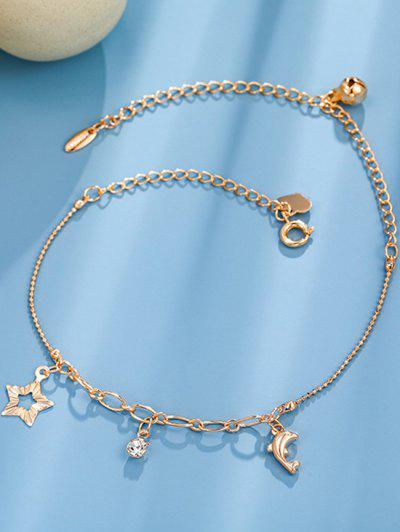 Golden Dolphin Star Rhinetone Charm Anklet - Rose Gold