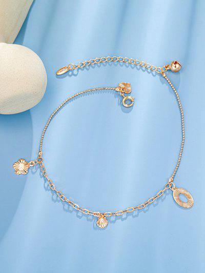 Golden Seashell Flower Bell Charm Anklet - Rose Gold