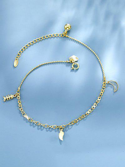 Golden Fishbone Moon Bell Charm Anklet - Golden