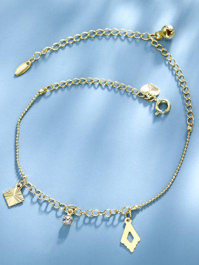 Golden Rhinestone Heart Bell Charm Anklet - Golden