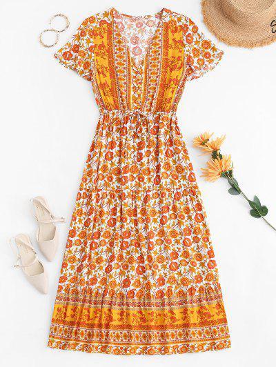 Button Loop Tie Waist Bohemian Printed Maxi Dress - Dark Orange L