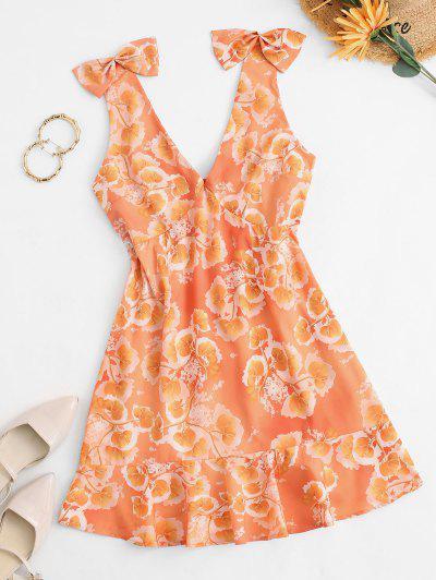 Empire Waist Floral Bowknot Mini Dress - Orange S
