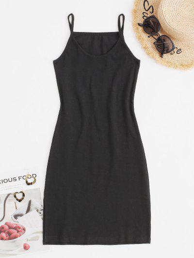 리브 니트 분할 사이드 슬라이딩 바디 콘 카피 드레스 - 검정 미디엄