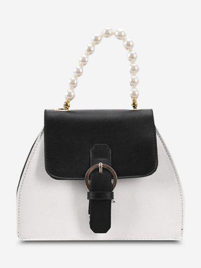 Faux Pearl Handle Buckle Colorblock Crossbody Bag - Black