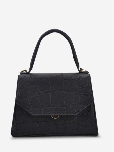 Embossed Top Handle Chain Flap Crossbody Bag - Black