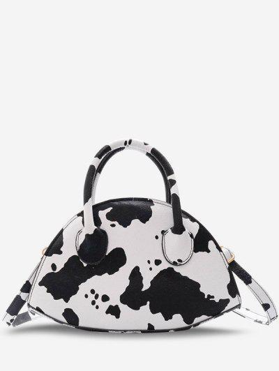 Animal Print Irregular Shape Dual Handle Crossbody Bag - White