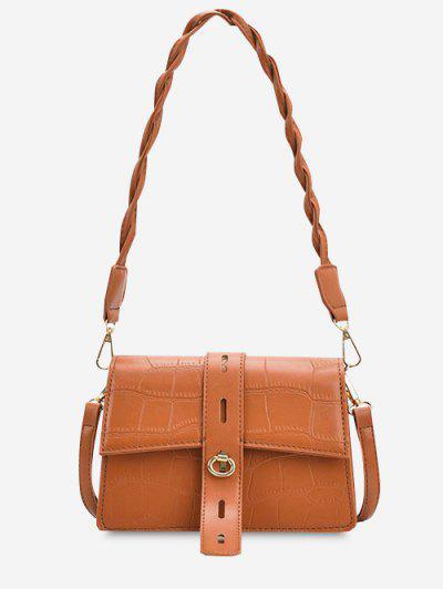 Embossed Double Strap Flap Shoulder Bag - Tangerine
