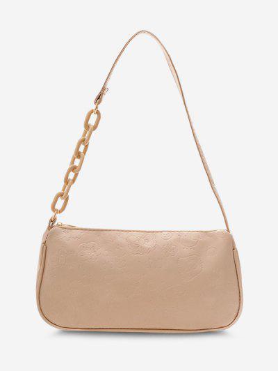 Cute Pattern Embossed Half Chain Solid Shoulder Bag - Light Khaki