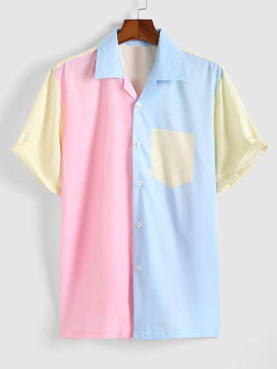 Farbblock Reißverschluss An Der Vorderseite Kurzarm Hemd - Hell-pink L