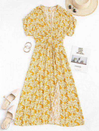 Floral Back Cutout Split Hem Maxi Buffet Dress - Light Yellow S