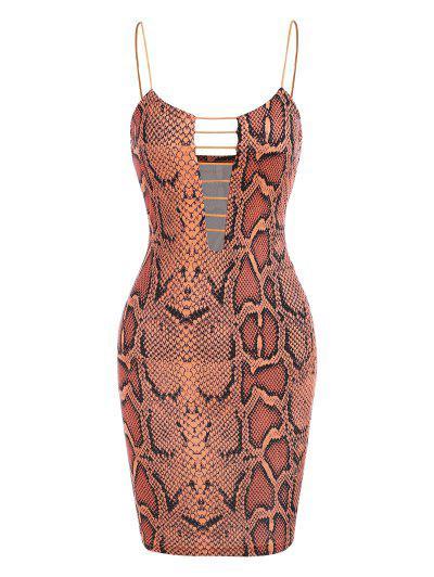 Snake Print Ladder Cutout Slinky Cami Dress - Multi M