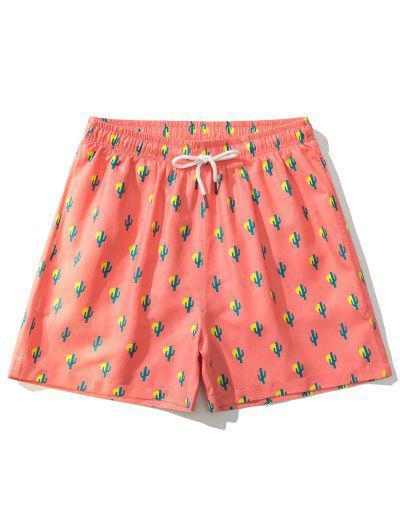 Sonnen Kaktusdruck Urlaub Shorts - Orange Xl