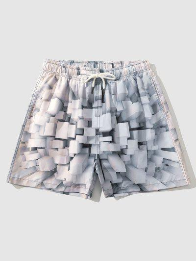Cubist Geometric 3D Pattern Shorts - Blue Gray M