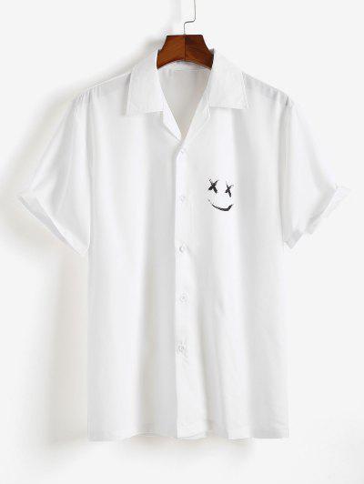 Kurzarm Frohe Gesicht Druck Hemd - Weiß L