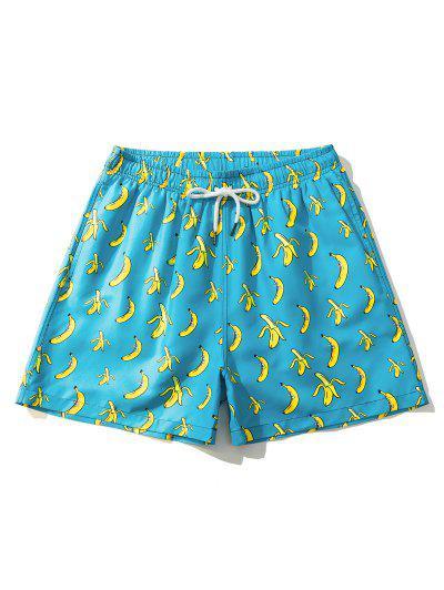 Cartoon Banana Print Vacation Shorts - Macaw Blue Green M