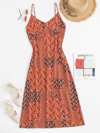 Spaghetti Strap Bohemian Patchwork Print Maxi Bustier Dress - Red S