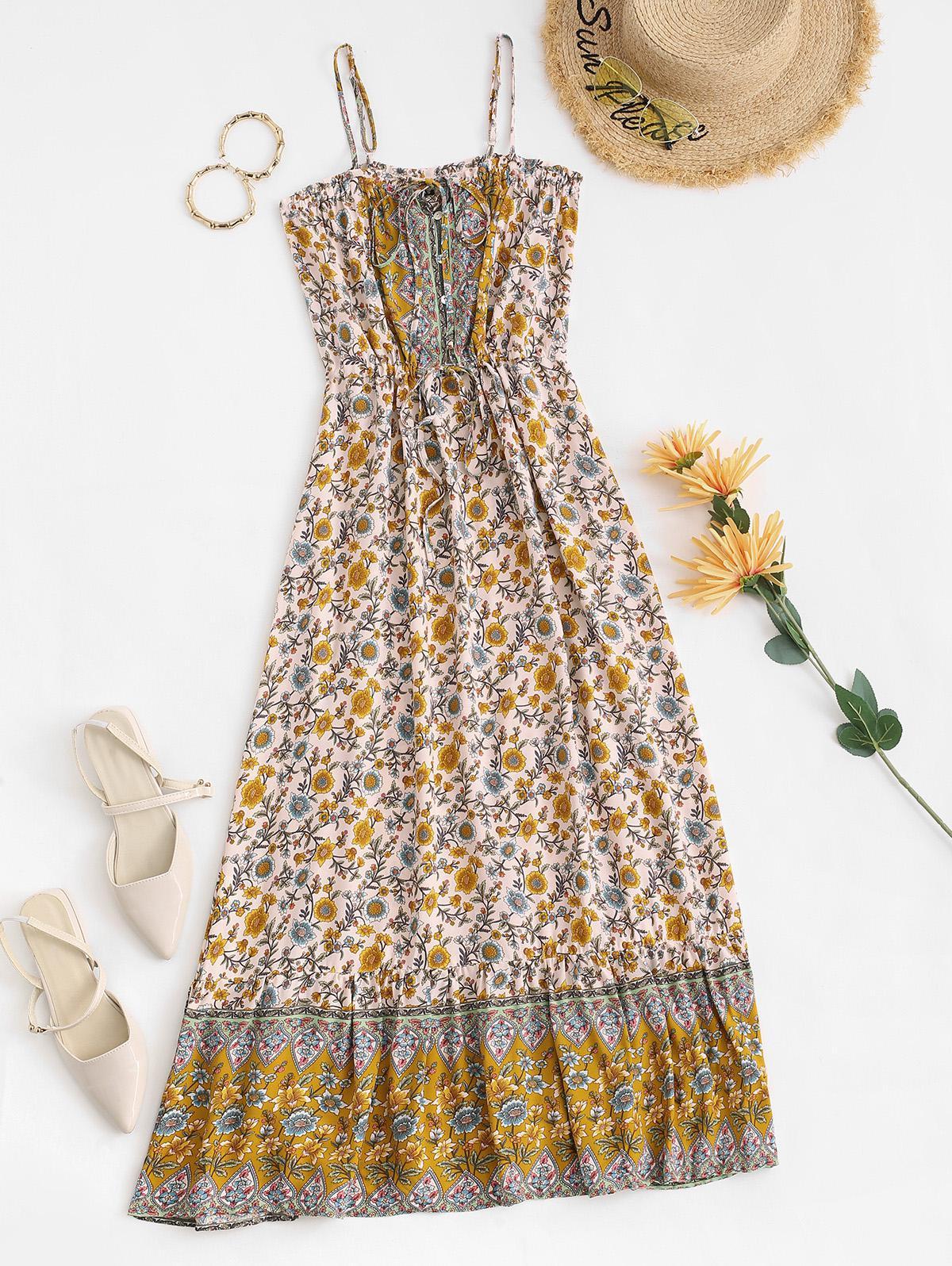 Bohemian Floral Drawstring Waist Maxi Cami Dress