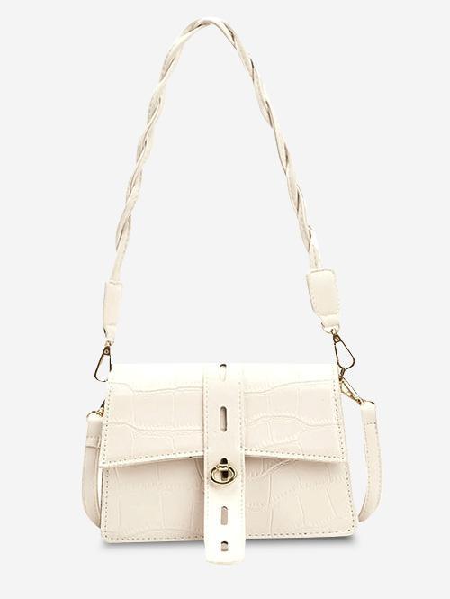 Embossed Double Strap Flap Shoulder Bag