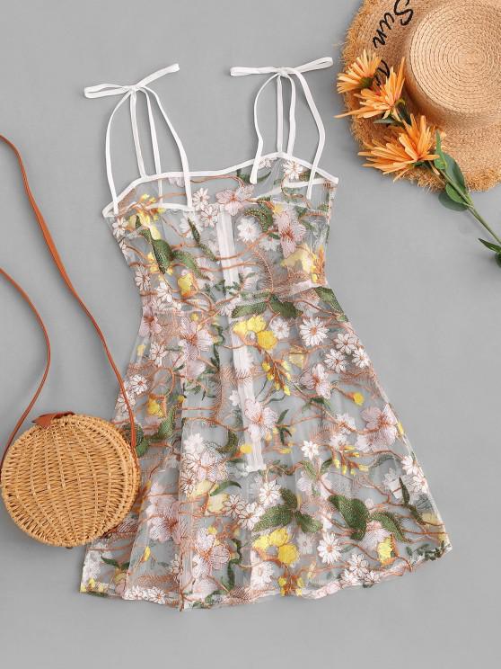 affordable Tie Shoulder Floral Embroidered Sheer Mesh Dress - MULTI L