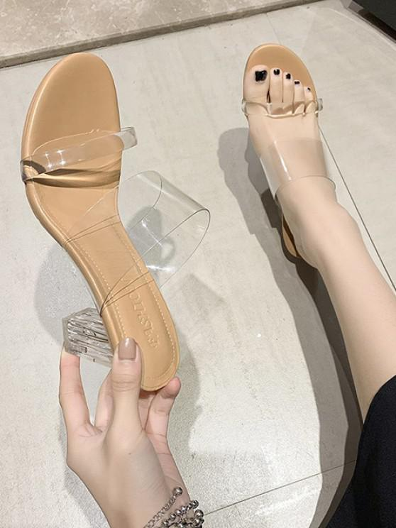 ladies Transparent Chunky Heel Slides Sandals - BEIGE EU 36