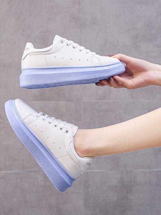 Letters Pattern Platform Sneakers - ضوء السماء الزرقاء الاتحاد الأوروبي 36