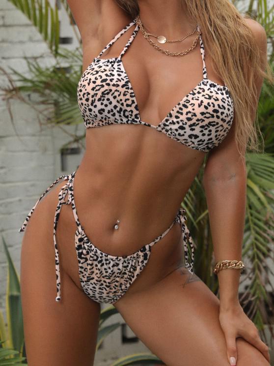 ZAFUL Tie Side Tiger Leopard Dalmatian String Bikini Swimwear - القهوة الخفيفة S