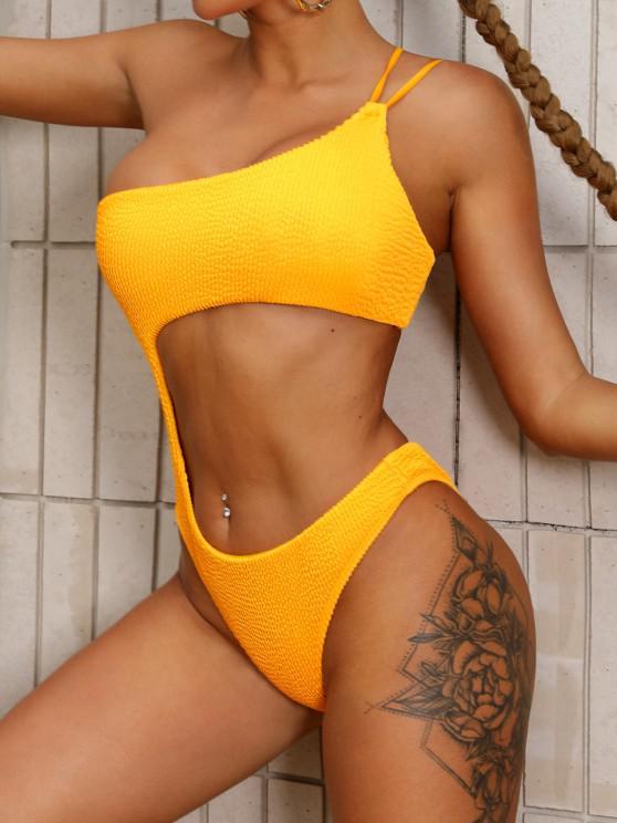ZAFUL Einziger Schulter Kittel Bikini Badebekleidung mit Ausschnitt - Gelb S