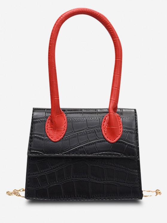 Embossed Flap Top Handle Chain Flap Bag - أسود