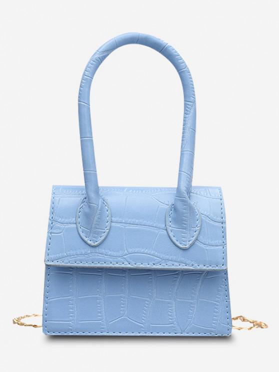 ladies Embossed Flap Top Handle Chain Flap Bag - BLUE