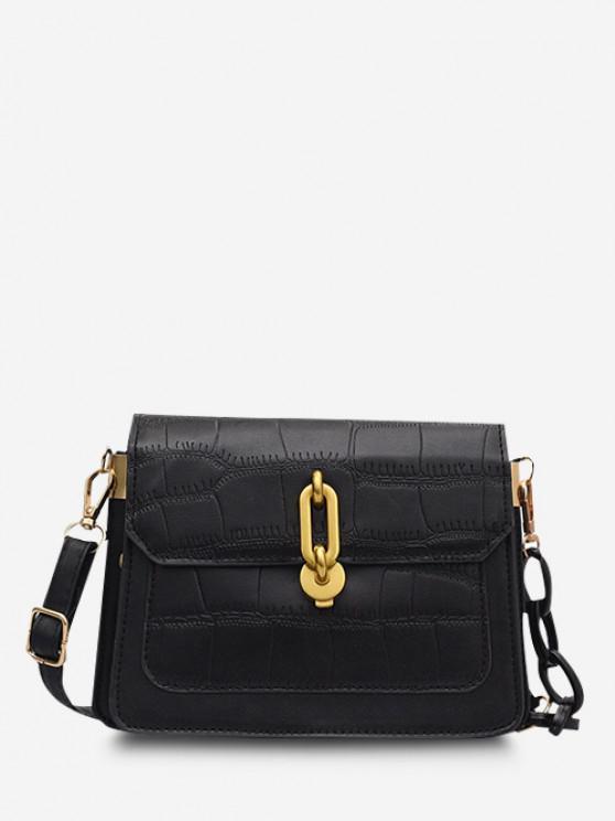 Half Chain Embossed Flap Shoulder Bag - أسود