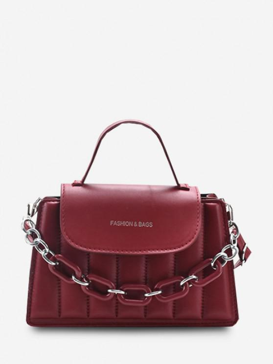 Puffy Chunky Kette Top Griff Klappe Crossbody Bag - Rot