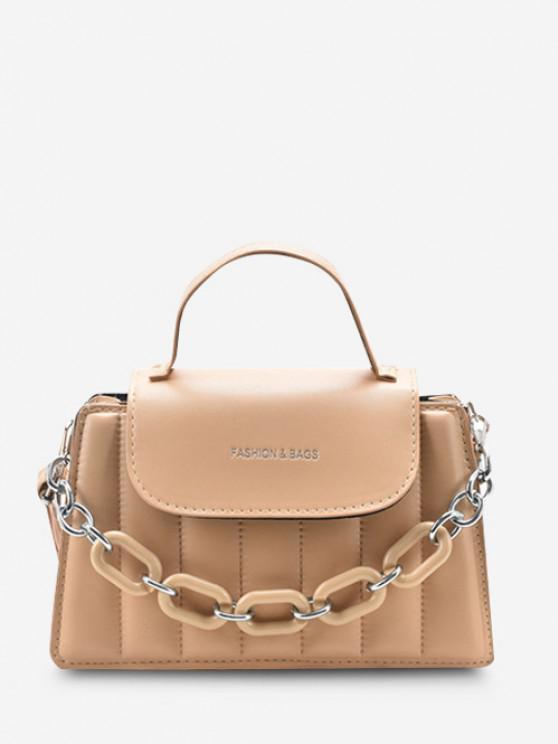 online Puffy Chunky Chain Top Handle Flap Crossbody Bag - LIGHT KHAKI