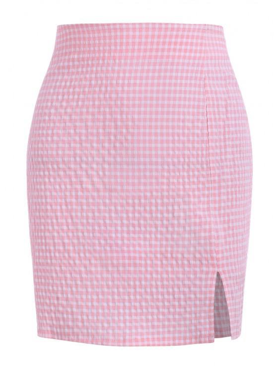 trendy Gingham Slit Seersucker Mini Skirt - LIGHT PINK M