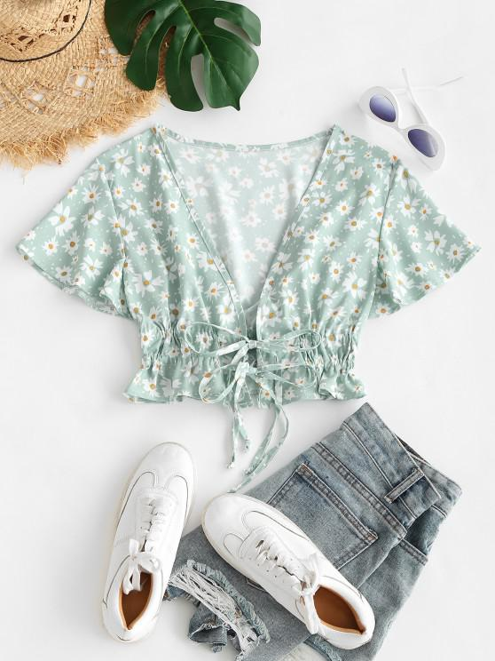 Blusa Recortada con Escote Pico con Cordón Combinado - Verde claro S