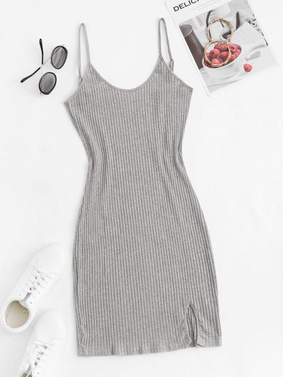 chic Cami Ribbed Front Slit Slinky Dress - GRAY M