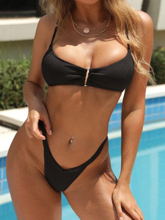 ZAFUL Square Ring Thong Bikini Swimwear - أسود S