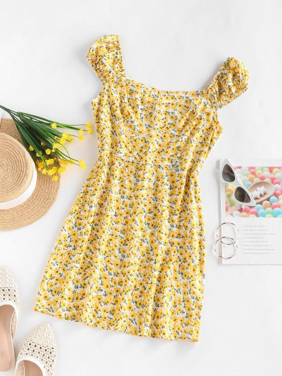 online ZAFUL Ditsy Print Sleeveless Mini Dress - YELLOW S