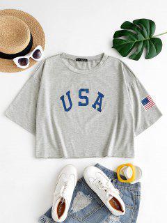 ZAFUL Camiseta Con Estampado De Bohemia USA - Gris Claro 5xl