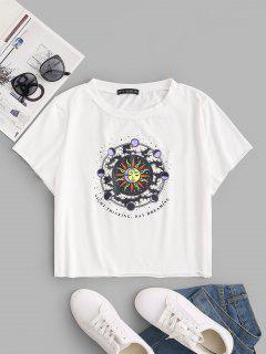 ZAFUL T-shirt Soleil Lune Imprimé à Ourlet Brut De Grande Taille - Blanc Xl