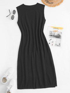 Split Hem Sleeveless Midi Knit Dress - Black S