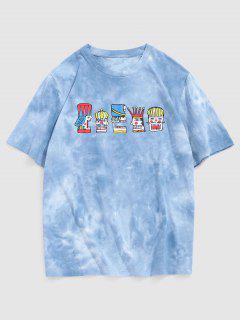 Tribal Totem Tie Dye Print Short Sleeve T-shirt - Light Blue L