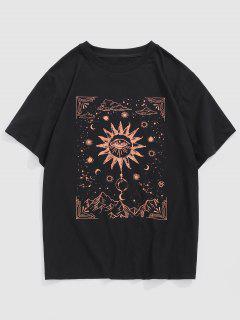 Celestial Sun Eye Moon Print Short Sleeve T-shirt - Black M
